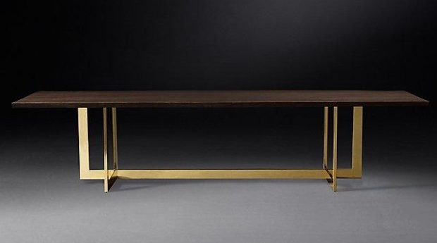 Gold & walnut table